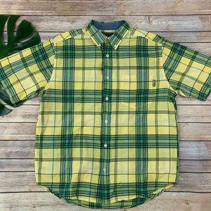 Woolrich men's yellow green plaid button up shirt